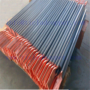 insoluble PMTA titanium clad copper bus bar anode