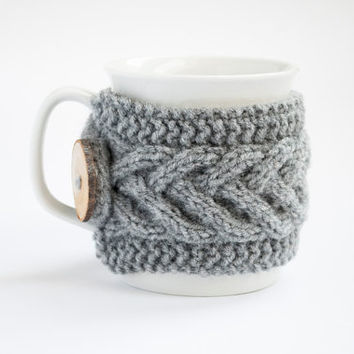 Western Style Knitted Coffee Cup Sweater Warmers With Buttons Buy