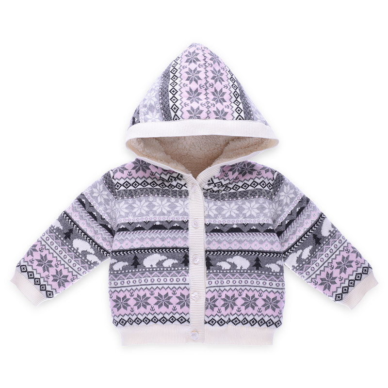 dc67869780ed Christmas Snow Pattern Knitted Baby Girl Cardigans Hoodies Clothes ...