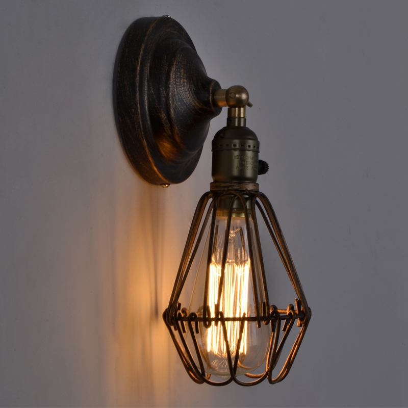 Hot Sale Decorative Wall Lamp Antique Vintage Cage Wall Lamps From