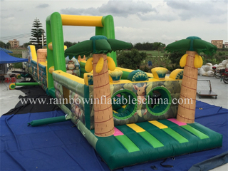 RB5038-2(25x3.7x5m) Inflatable Giant Jungle Theme Games/Inflatable Obstacle Course For Sale