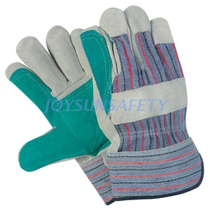 CB5180 green leather double palm work gloves