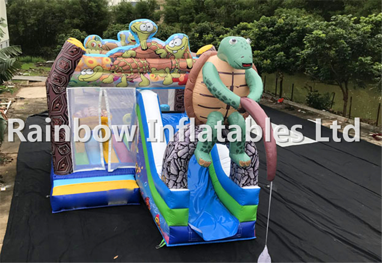 RB3009 ( 6x4m ) Inflatables Amusing Turtle Combo With Slide For Fun