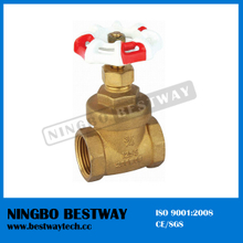 200wog Brass Gate Valve with Red and White Handlewheel (BW-G03)