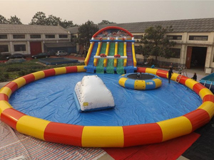 Giant Inflatable Ground Water Park Inflatable Cartoon Water Play Equipment with Huge Slide-in