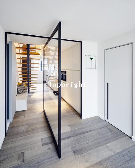 Quality Interior Heavry Aluminum Pivot Door With Double Glazing