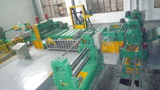 Automatic double knife block steel strip slitting and rewinding whole production line