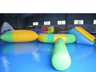 Inflatable Floating island water park games/trampoline combo with water slide RB32075