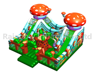 RB04128 (8x8x5m)Inflatable mushroom Bouncer funcity with double Slide