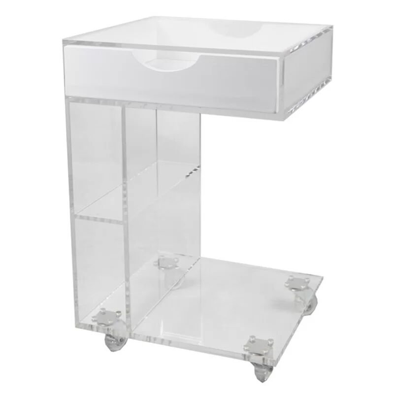 C Shape Modern Design Movable Coffee Table Clear Acrylic Storage Side Tables
