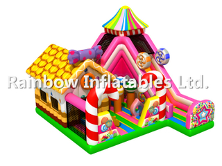 RB04053(9x8x6.5m) Inflatable Candy series theme funcity with slides