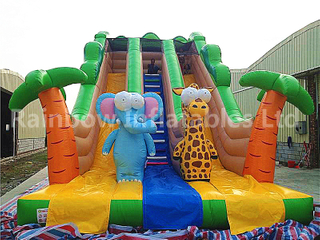 RB6038(10x5x7m) Inflatable Jungle Theme Customized Commercial Slide With Different Animals For Kids