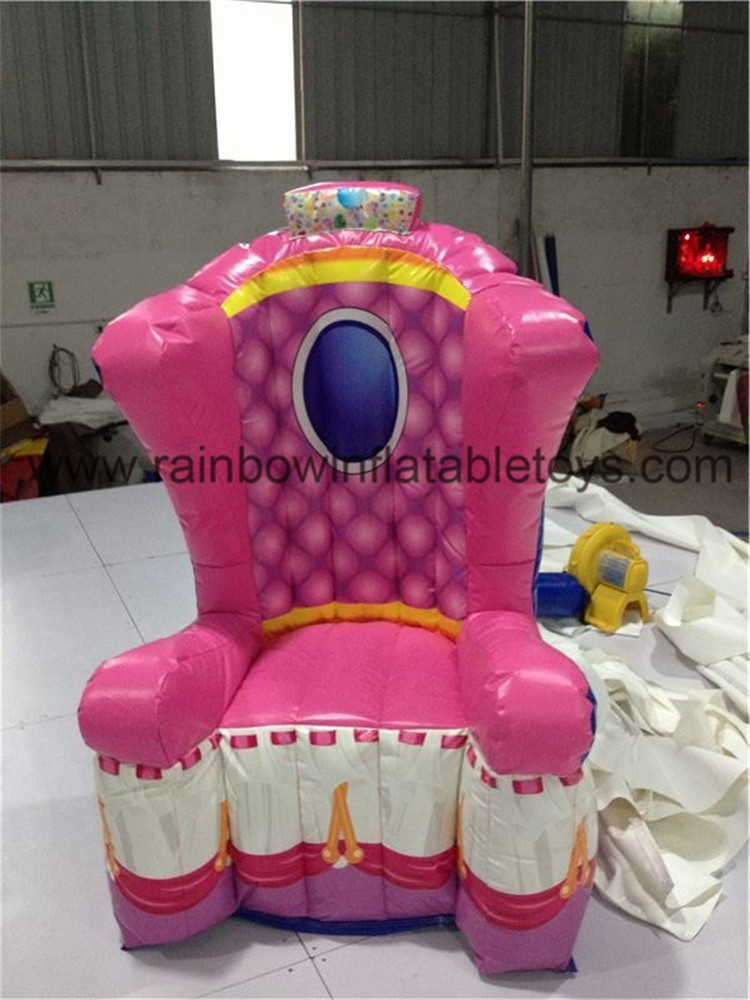 RB20006-2(2.5mh) Inflatable Pink Throne Design Party Chair For Advertisement/Princess Advertising Party Chair