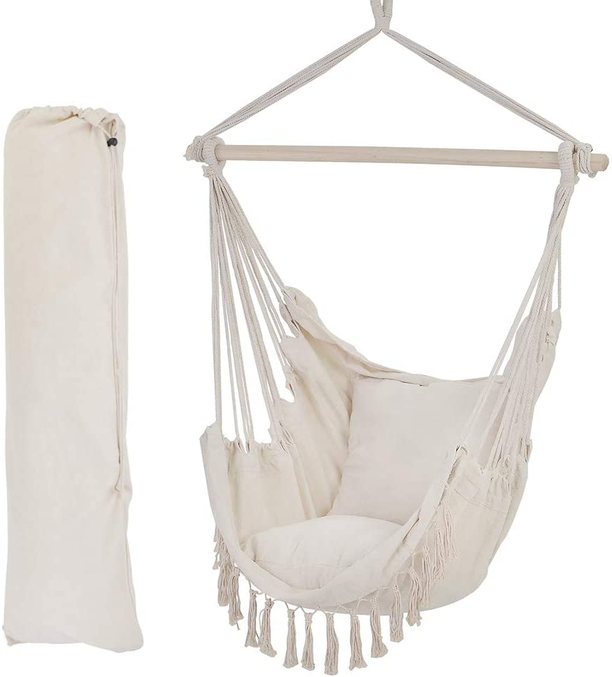 Backyard Patio Macrame Hammock With Two Pillows/Carry bag/Hardware