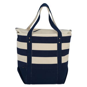 Personalised zipper canvas striped beach totes