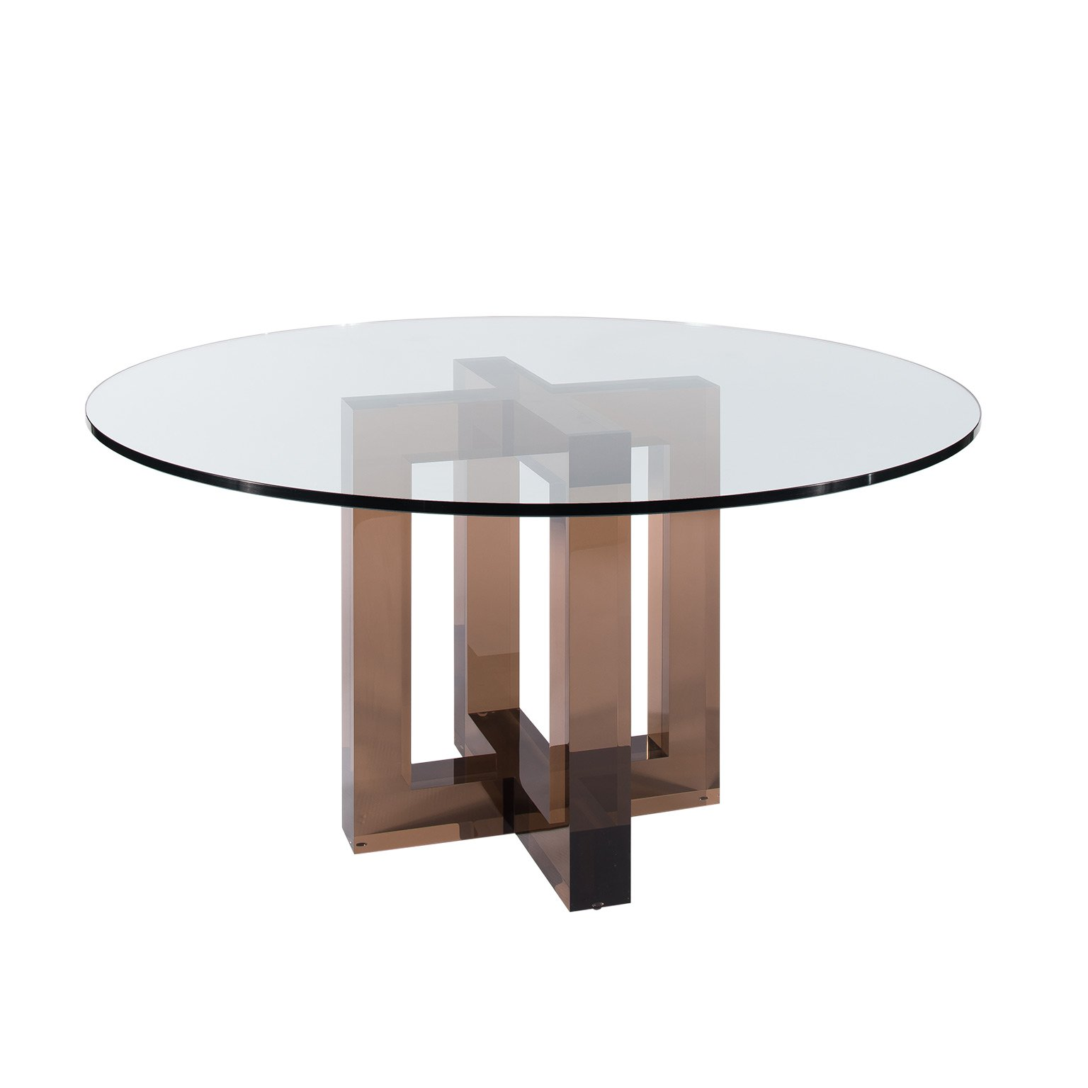 Superbe Clear Glass Top Brown Acrylic Base Dining Table Acrylic Dinner Table
