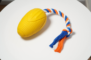 rubber corn with rope dog toy