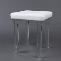 Clear Acrylic Furniture Legs Base Foot Stool With Leather Seat