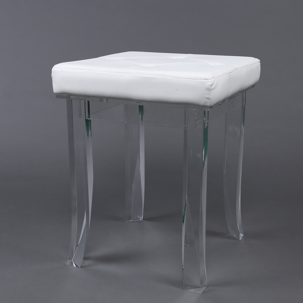 acrylic furniture legs. Clear Acrylic Furniture Legs Base Foot Stool 4 Legged Lucite Rest With Leather Seat L