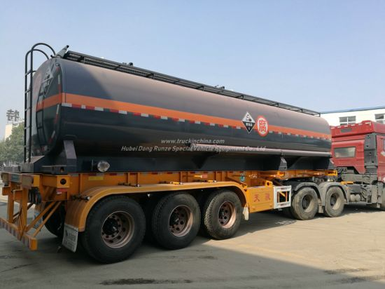 Hydrocyanic Acid Tank Mounted On Container Trailer For Road Transport 30KL-40KL for HCl(max 35%), NaOH (max 50%), NaCLO (max 10%), H2SO4(60%) Steel Lined LDPE