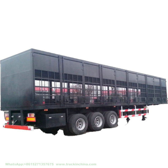 Customizing 60 Tons Flat Bed Curtain Side Wall Cargo Semi Trailer (Wing Side Opening Van)