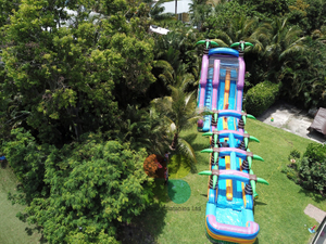 Long Volcano Bay Double Lane Inflatable Water Slide