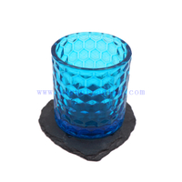Yayun dimond embossed blue glass candle holder