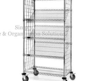 Food Display Storage Systems 5-Tier Slanted Wire Shelving Suture Cart Chrome Finish