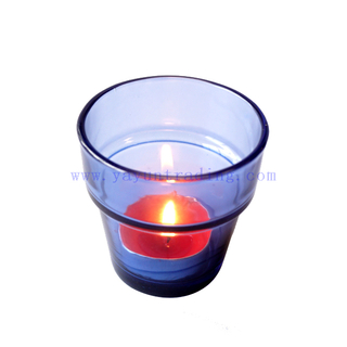 shiny green blue amber empty glass candle making holder