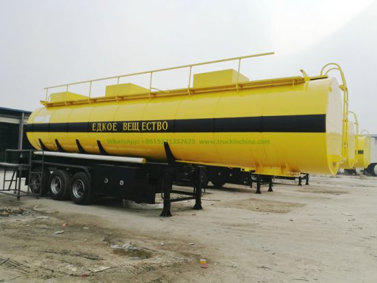 Hydrochloric Acid Sodium Hypochlorite Chemical Liquid Transport Tanker Trailer with Acid Pump and Insulated Rockwool