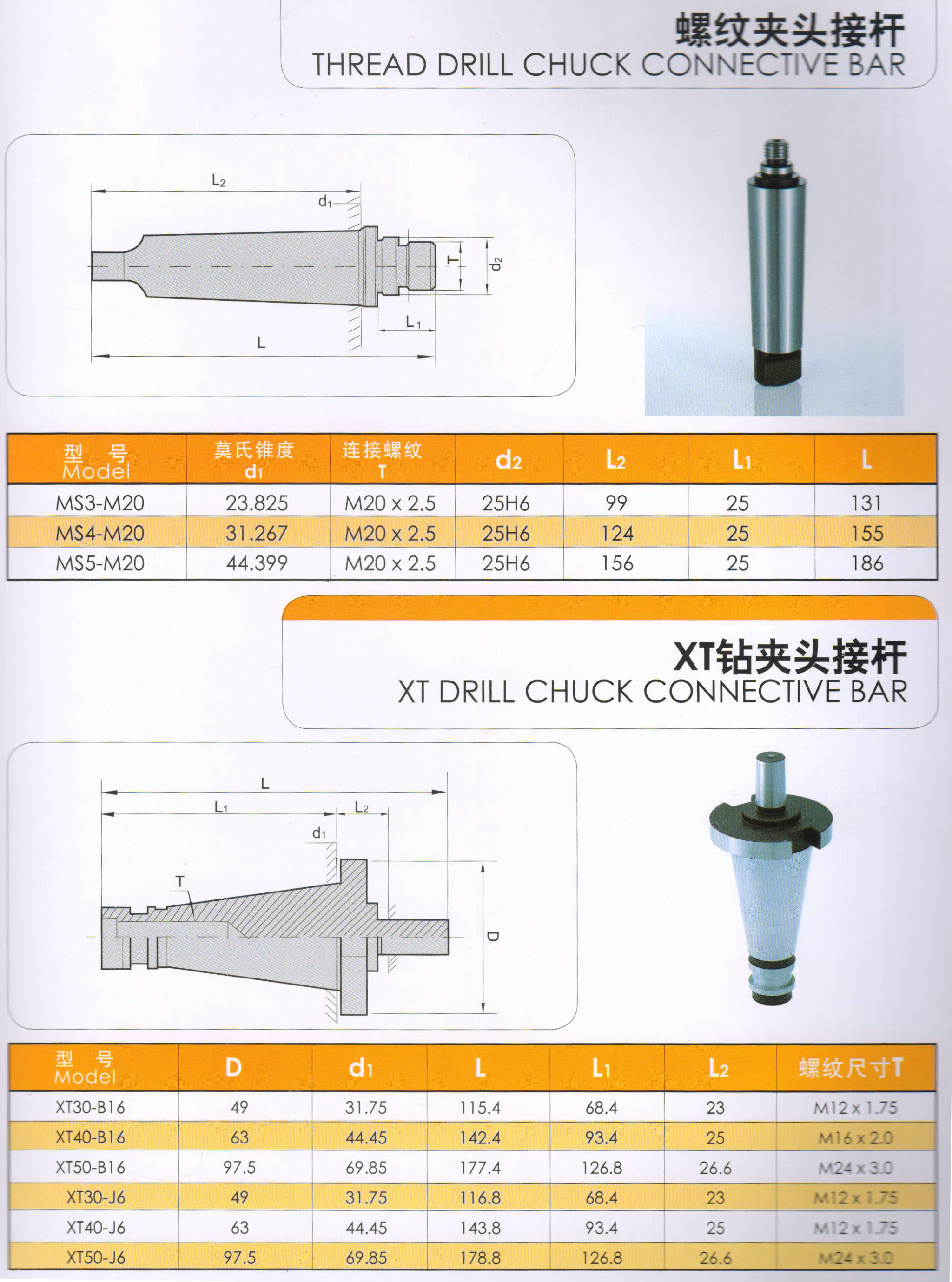 THREAD DRILL CHUCK CONNECTIVE BAR