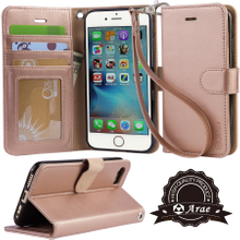 iphone 7 case, iPhone 8 case, Arae PU leather wallet Case with Kickstand and Flip Cover for iPhone 7 (2016) / iPhone 8 (2017)