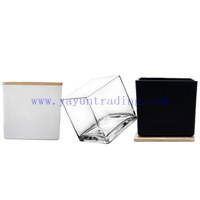 6*6cm Classic matte black white clear square glass candle jar daily decorative glass candle holder with wood lid