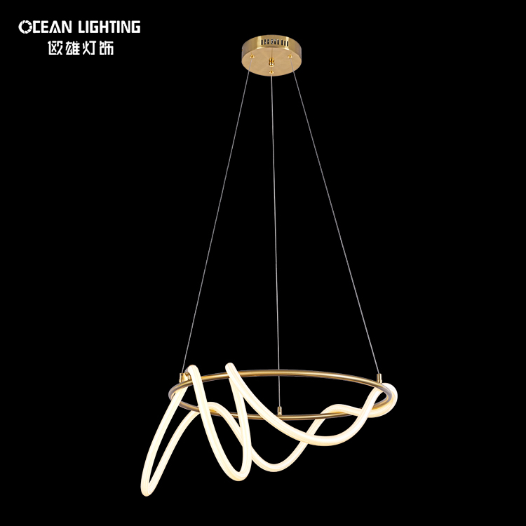 Modern nordic hanging pendant light in satin brass silicone luxury chandelier