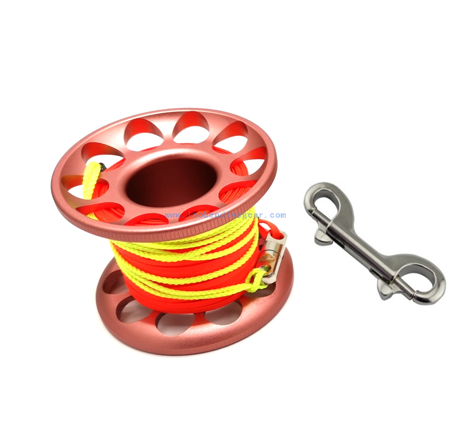 30M Aluminum Mini Scuba Diving Spool with swivel and double ender clip