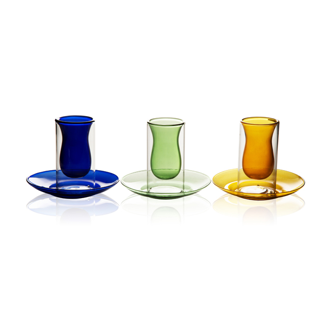 GD0101 Colorful Double wall cup with plate 3pcs