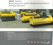 W11F SERIES MECHANICAL 3-ROLLER ASYMMETRICAL PLATE ROLLING MACHINE
