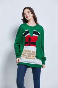 knitted Christmas design green Santa Christmas sweater Xmas sweater