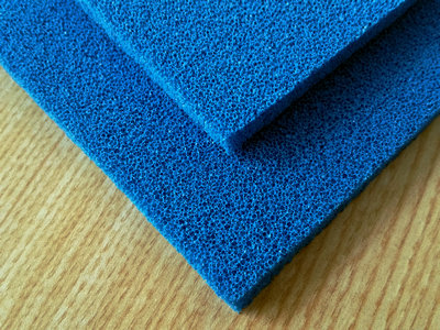 Silicone Sponge Rubber Sheet Blue Open Cell-012
