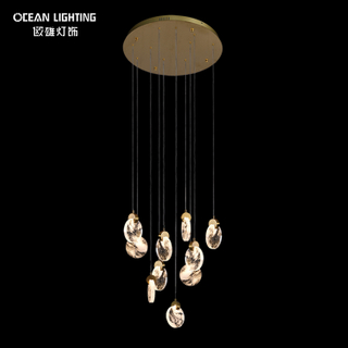 Luxury Gold Lighting Metal Pendant Lamp 3W*10 LED Crystal Lamp Chandelier
