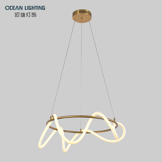 Modern Metal Silica Gel Strip Gold Ring 80W Pendant Lamp LED Round Pendant Lights Modern Chandeliers