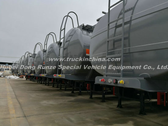 3 Axles Acid Tank Trailer for HCl (max 35%) , Naoh (max 50%) , Naclo (max 10%) , PAC (max 17%) , H2so4, H3po4 (10%-85%) , Nh3. H2O, H2O2 (30%) etc 28cbm-45cbm