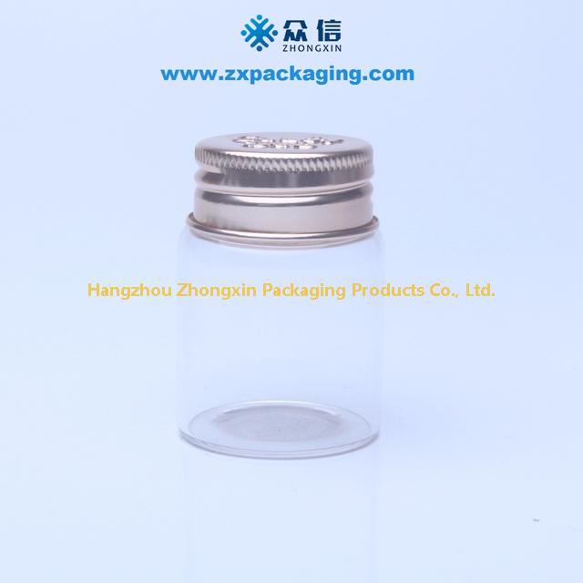 Wholesale diameter 37 mm Clear Glass Bottle Screw Aluminum lid Borosilicate