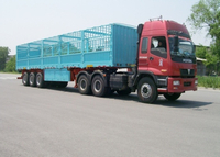 13m 3 Axles Drop Side Trailer with Side Wall And Cargo Fence for Bulky Cargos,Platform Semi Trailer