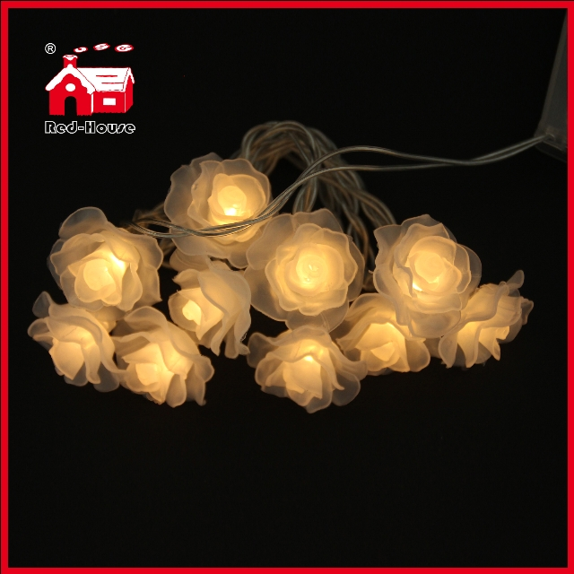 10 simulation pink rose led battery light string flower christmas light - Flower Christmas Lights