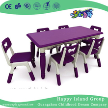 Kindergarten Children European Purple Rectangle Plastic Study Table (HG-5201)