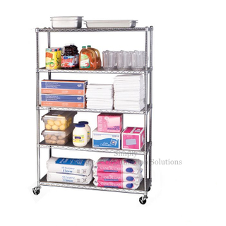 Mobile Chrome-Plated Hygienic Rack 5 Layers Restaurant Wire Shelving
