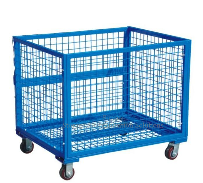Collapsible Transship Metal Pallet Box with Wheels for Supermarket