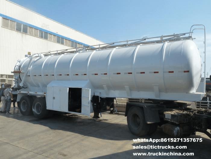 semi-remorque de camion-citerne d'eaux d'égout
