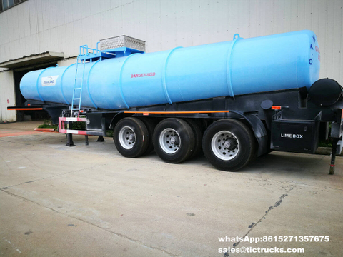 Sulphuric Acid Tanker Trailer V shape 21000L air bag suspension